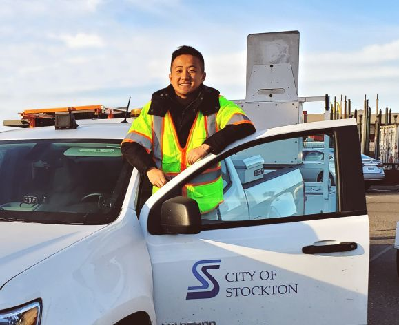 Student working their Co-op with the city of stockton